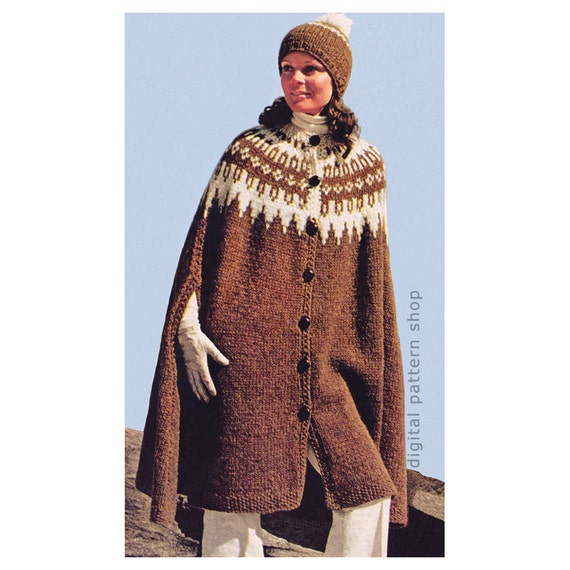 Cape Knitting Pattern Vintage Icelandic Cape Cap Pattern Womens