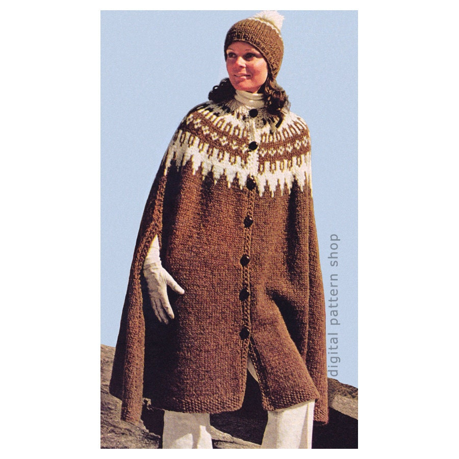Cape Knitting Pattern Vintage Icelandic Cape & Cap Pattern Womens ...