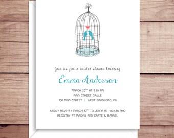 Bridal Shower Invitations - Birdcage Invitations - Bird Invitations - Wedding Shower Party Invitations - Custom Invitations