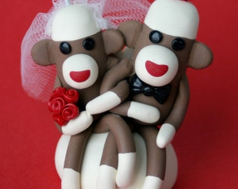 Sock Monkey Wedding Cake Cupcake Topper or Ornament