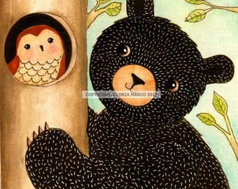 "Print "" Climb to Wisdom""-Beautiful  Bear and Owl"