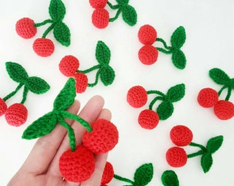 5x Sweet Crochet Red Cherry With Green Leafs - Sewing Bag Decorations