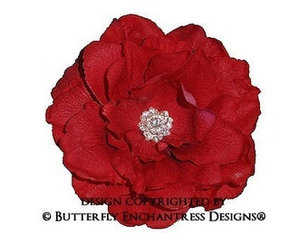 Rhinestone Red Briar Rose Bridal Hair Flower Clip