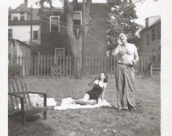 "Vintage Photo ""Hey, Joe! Over Here!"" Shirtless Man Holding Beer Wife Wearing Black Swimsuit Found Vernacular Photo"