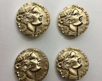 Chanel Pretty Buttons Set of 4 VTG Art Nouveau Lady Head Gold Color