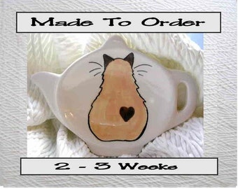 Himalayan Siamese Cat With Heart Teabag Holder Handmade Ceramic by Grace M. Smith