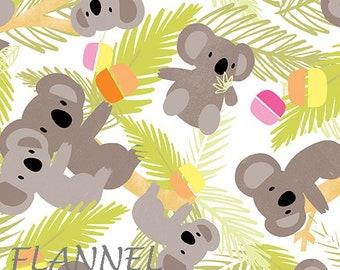 Koala Flannel Fabric, Koala Quilt Flannel, Kanvas Studio Koala Baby Flannel CF 8681F 44, Maria Kalinowski, Green, Taupe, Pink, Cotton