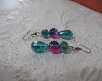 Pink earrings, blue earrings, teal earrings, aqua earrings, handmade earrings, pink and blue, earrings,