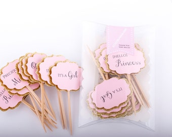 Baby Shower Cupcake Toppers Gold And Pink Decorations.