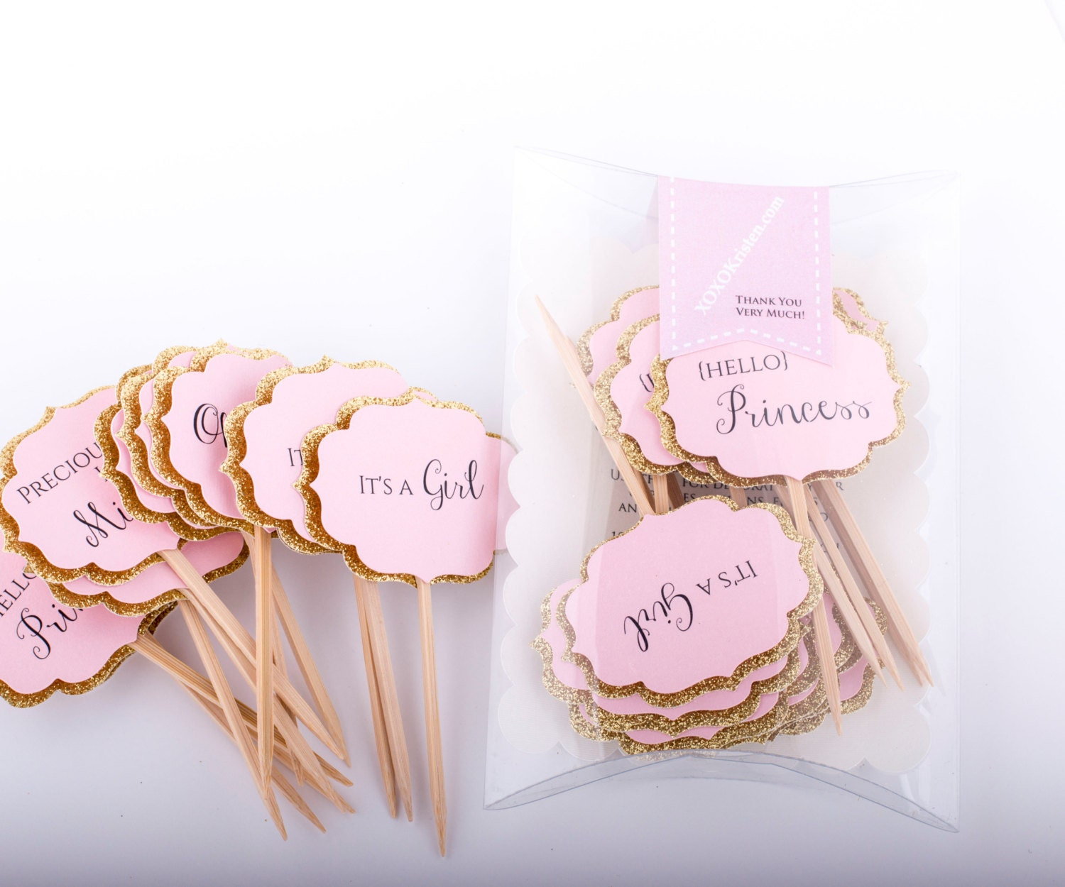 Baby Shower Cupcake Toppers Gold And Pink Decorations Pink