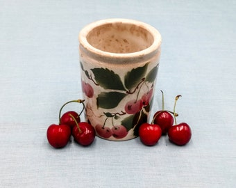 Antique rare French ceramic jam pot with cherries, earthenware jam pot, probably Luneville early 1900s,  antique jam pot, vintage canister
