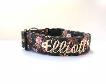 Fall Floral Dog Collar, Embroidered Dog Collar, Personalized Dog Collar, Floral Dog Collar, Collar, rose Collar, Flower dog collar