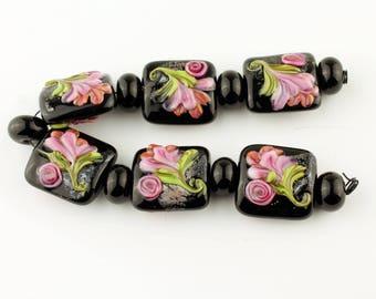Lampwork Glass Bead Set Garden Florals, Black with Pink Flowers