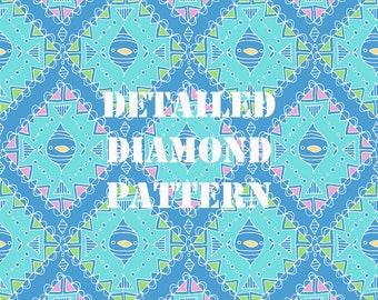 Blue Detailed Diamond Pattern Digital Pattern Paper