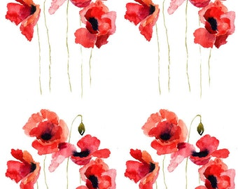 Tale of the Red Poppy - Ceramic Waterslide Decal - Enamel Decal - Fusible Decal - 41511