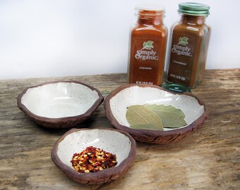 Pottery Prep Bowls Stoneware Ceramic, Rustic Kitchen Dipping Bowls, Housewarming Gift, Chef Gift - Set of 3