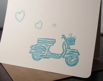 Scooter and Hearts - 6-Pack Gocco Screen-Printed Cards