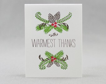 Set of 6 Letterpress Winter Holiday Cards, Pine Cone Thanks