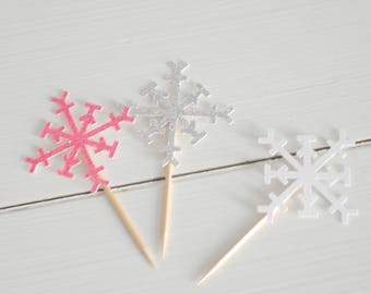 snowflake cupcake toppeer, winter wonderland cupcake topper, Winter wonderland, snow cupcake topper