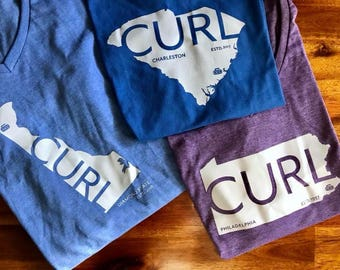 Custom Your State & Curling Club Bonspiel Hometown Pride Ladies Crew Neck T-Shirts
