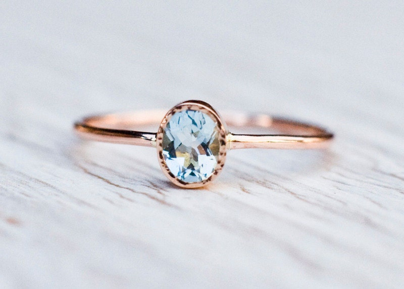 Aquamarine engagement ring in 14k Rose Gold Gold Aquamarine