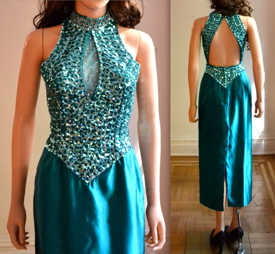 80s Prom Dress Size Small Sequin Gown By Mike Benet Blue