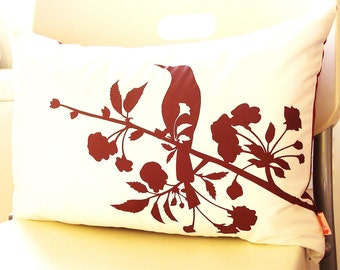 SALE  Burgundy Red on Off  White Blooming Blossom Rectangle Pillow