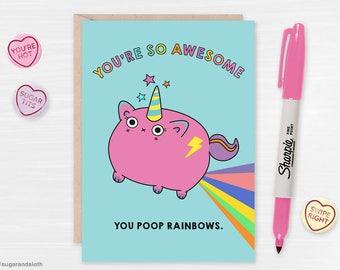 Valentines card for friends, funny valentine card butt, valentines card funny, valentines card for boyfriend, unicorn valentines day cards