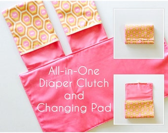 All-in-One Diaper Clutch and Changing Pad, Geometric Print/Pink diaper clutch and changing pad