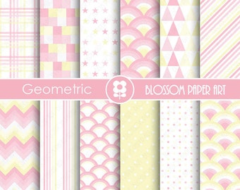 Pink Digital Paper Baby Girl Digital Papers, Geometric Scrapbooking Paper Pack, Light Pink and Yellow Papers - INSTANT DOWNLOAD - 1838