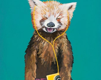 Digital Print of Original Painting Red Panda with Vintage Yellow Cassette Walkman