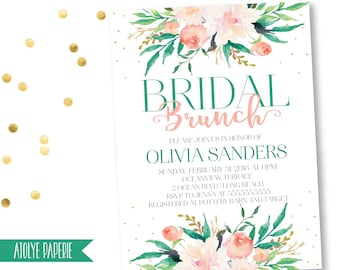 Bridal BRUNCH invitation, Bridal Shower Invitation, boho bridal shower invitation,Watercolor Floral Bridal Shower Invite, pink floral invite