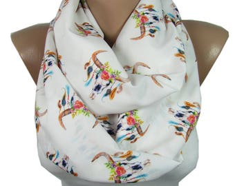Bull Scarf Infinity Scarf Bohemian Floral Bull Skull Scarf with Feathers Boho Scarf Acessory  Gift For Best Friend Gift For Women