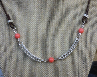 Chainmail Necklace with Coral Beads - Sterling Silver Queens Chain Necklace - Salmon Necklace - Coral Necklace - Simple Elegant Necklace