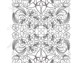 Adult coloring page, kaleidoscope, flower, butterfly, swirl, leaf, leaves, stylized flower.  Spring Flowers. PDF