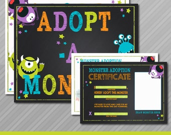 Adopt a Monster certificate and sign, Monster Birthday, Monster adoption certificate, Chalkboard Monster Instant download, Printable Digital