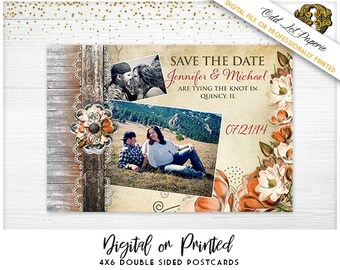 Autumn Save the Date,Rustic Save the Date PRINTABLE Digital File or Printed 4x6 Postcard, Magnolia Flower save the date, Rustic Floral, Barn