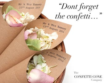 Wedding confetti Mr & Mrs personalised cones Pack of 5