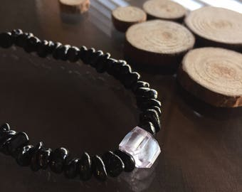 Kunzite and Black Tourmaline Bracelet