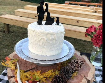 MADE In USA, Fireman and Bride Wedding Cake Topper with Dog, Fireman Wedding Cake Topper, Wedding Cake Topper, Firefighter Cake Topper Pet