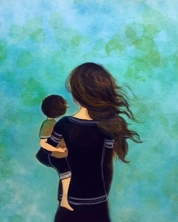 Mother and son blue decor art print, gift idea