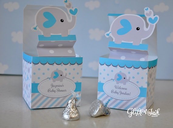 Amazing Blue And Grey Elephant Baby Shower Pop Up Favor Box Jack In