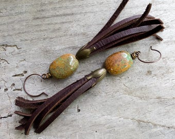 Leather Fringe Natural Turquoise Stone   Long Funky Hippie Earthy Organic   Woodland Wedding   Cowgirl Earrings   Jewelry For Her Under 25