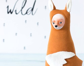Fox stuffed animal, plush fox doll, woodland animal decor, red fox, forest animal doll, fantastic fox figurine, playroom fox art