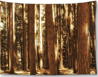 Woodland Tapestry-Tree Tapestry-Landscape Tapestry-Nature Wall Decor-Fabric Wall Hanging-Brown Wall Decor-Fine Art Tapestry-Outdoor Tapestry