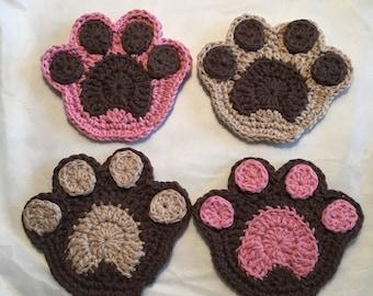 Crochet Puppy Dog Paw Coasters