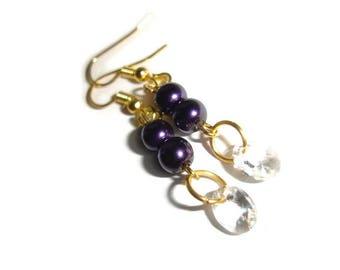 Swarovski Earrings Crystal earrings short dangle gold earrings purple pearl earrings fancy earrings formal earrings sophisticated crystals