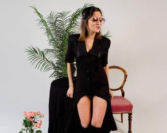 Black button up dress