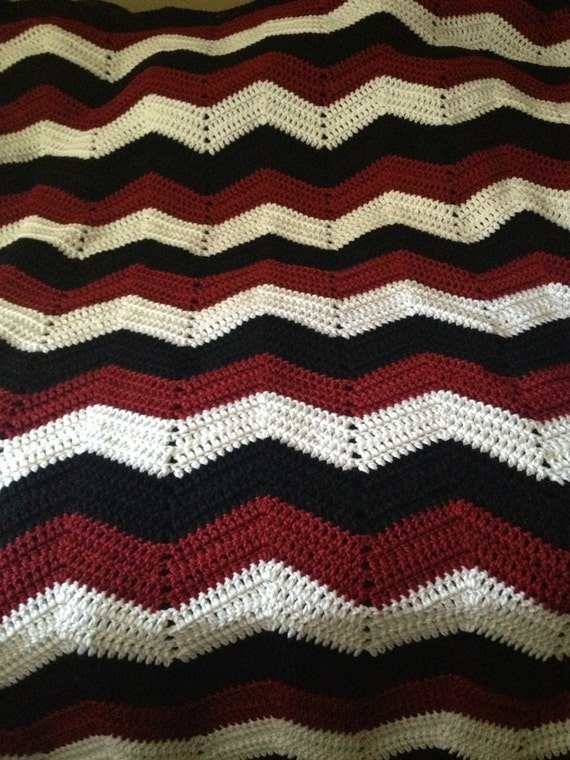 Adult size chevron crochet black white and maroon sports team