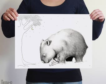 Giant Wombat & Book Boy, Large A3 or A2 Art Print by flossy-p. Australian animal, gift.